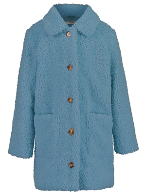 Blue Longline Borg Coat