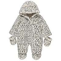 White Faux Fur Leopard Print Pramsuit by Asda