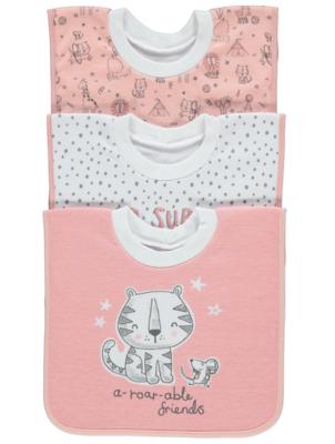 Pink Tiger Print Bibs 3 Pack