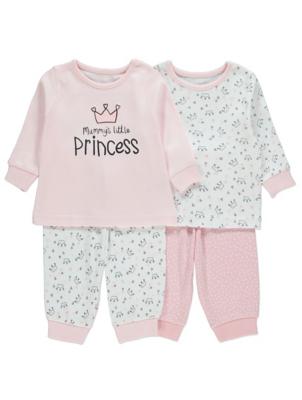 Pink Crown Print Pyjamas 2 Pack