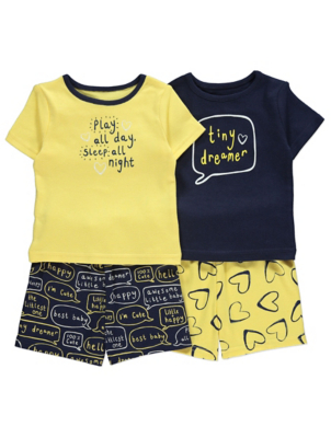 Yellow and Navy Slogan Print Short Pyjamas 2 Pack