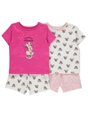Disney Minnie Mouse Pink Short Pyjamas 2 Pack
