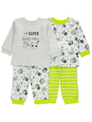 Grey Super Panda Pyjamas 2 Pack