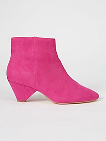 cc3497524645e Cerise Pink Suede Effect Triangle Heel Ankle Boots