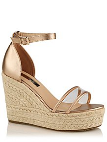 d0e2cab03d57 Krush Bronze Clear Strap Woven Wedge Heels