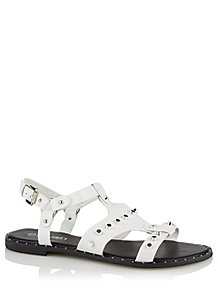 3600a2ace822 Krush White Studded Sandals