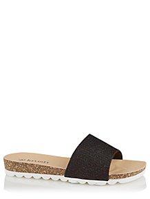 618f7d8deaf18 Krush Black Shimmering Woven Open Toe Sliders