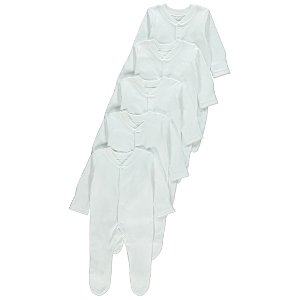 White Sleepsuits 5 Pack