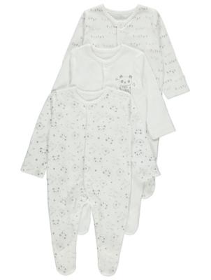 White Animal Print Sleepsuits 3 Pack