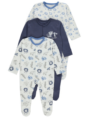 Blue Safari Print Sleepsuits 3 Pack