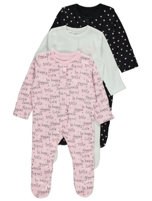 Pink Slogan Sleepsuits 3 Pack