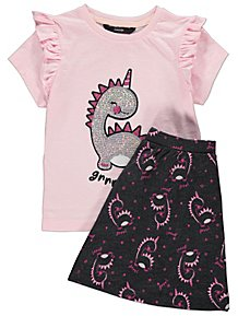 1c9ce8f1cb5b Pink Dinosaur Sequin T-Shirt and Shorts Outfit