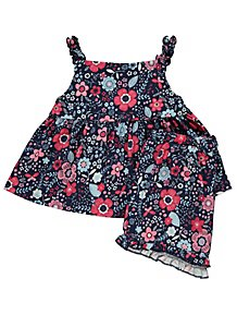 e686c80b820b Navy Floral Print Top and Shorts Outfit