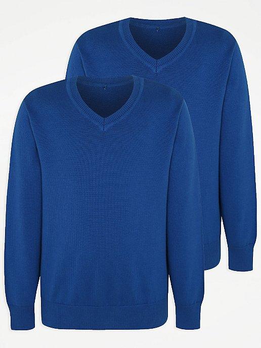 later modern and elegant in fashion purchase original Cobalt V-Neck School Jumper 2 Pack