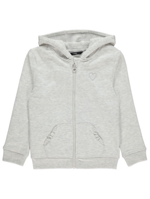 Pale Grey Marl Frill Zip Up Hoodie