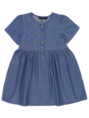 Denim Short Sleeve Button Dress