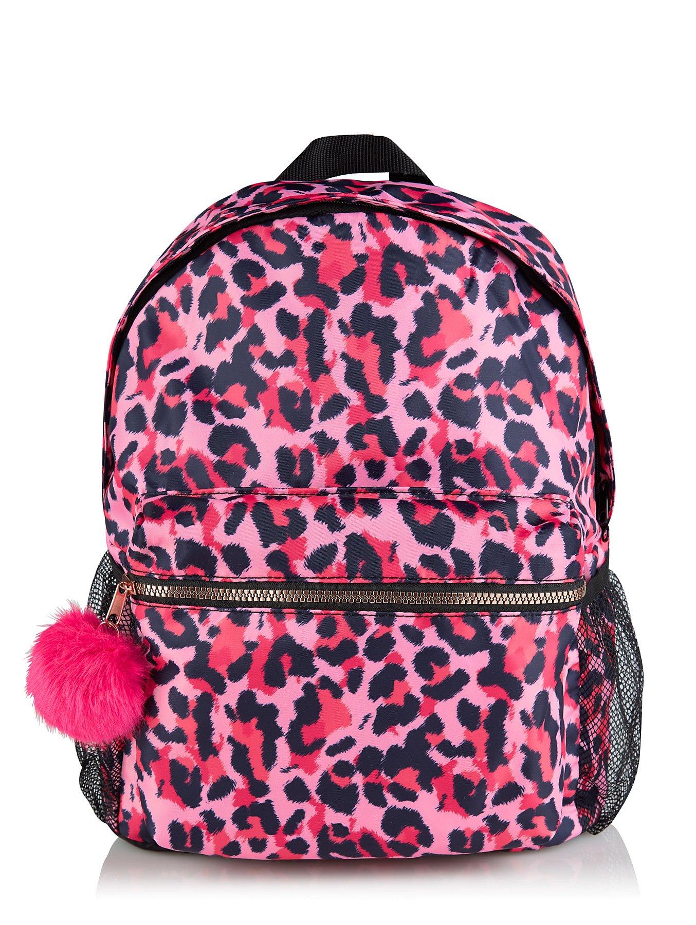 Pink Leopard Print Rucksack