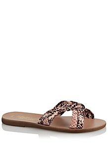 3180294e3bd Beige Pink Snake Print Mule Ring Sandals