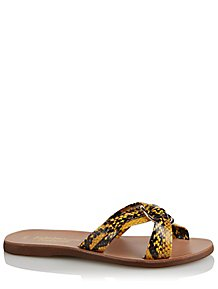 e0540ffd21a Yellow Snake Print Mule Ring Sandals