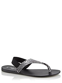 72546922e3d0 Grey Snakeskin Effect Sling Toe Post Sandals