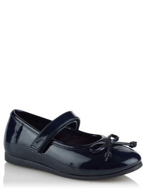 Girls Navy Patent Bow Trim Ballerina Shoes