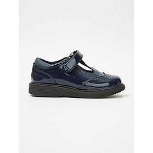 Girls Navy Patent Micro-Fresh® T Bar School Shoes
