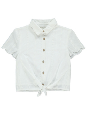 White Embroidered Tie Front Shirt