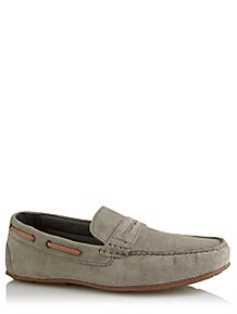 827752408665 Grey Suede Slip On Loafers