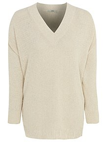 491c1f5f3c Cream V Neck Jumper