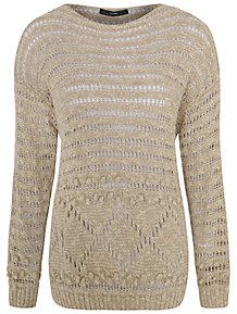 89dfc14599 Tan Wide Neck Crochet Bobble Trim Jumper