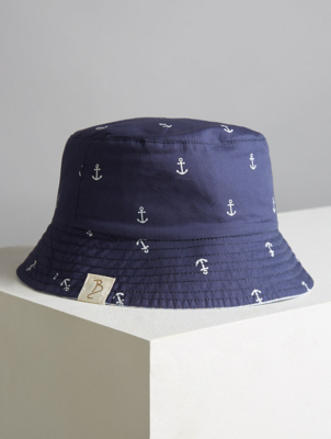 Billie Faiers Navy Anchor Reversible Bucket Hat