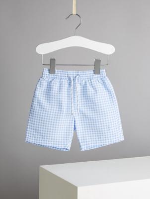 Billie Faiers Blue Gingham Swim Shorts