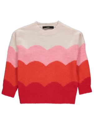 Pink Scalloped Striped Textured Jumper