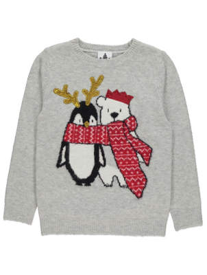 Grey Sequin Penguin and Polar Bear Christmas Jumper