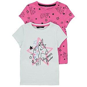 Pink and White Unicorn T-Shirts 2 Pack