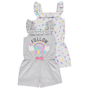 Grey Rainbow Slogan Jersey Playsuits 2 Pack