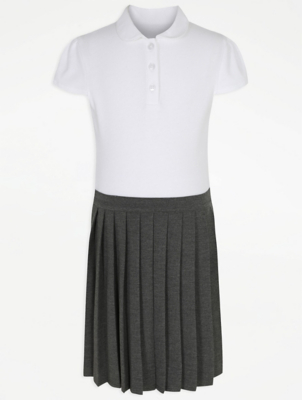 Girls Grey 2-In-1 Pleated School Pinafore Dress