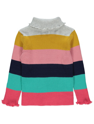 Striped Ribbed Roll Neck Long Sleeve Top