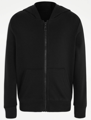 Black Zip Through School Hoodie