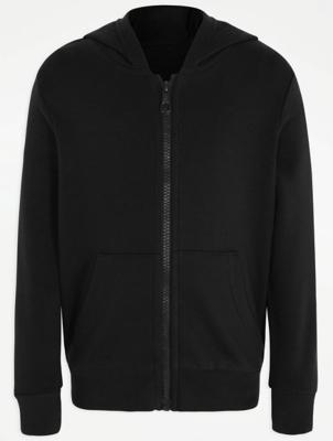 Black Zip Through School Hoodie
