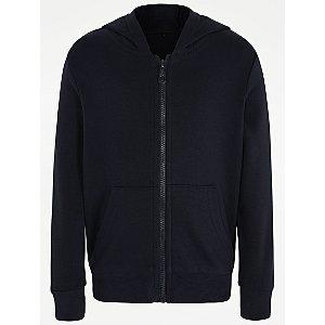 Navy Zip Through School Hoodie