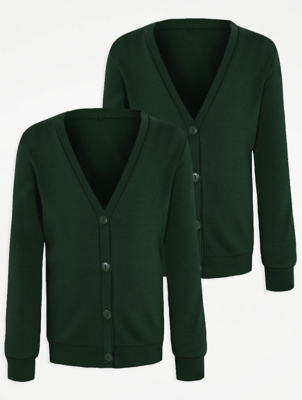 Girls Bottle Green Jersey School Cardigan 2 Pack