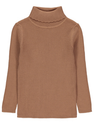 Brown Ribbed Roll Neck Long Sleeve Top