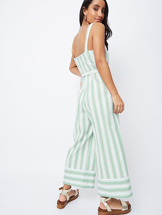 8968116c7bbf Mint Green Stripe Linen Blend Wide Leg Jumpsuit