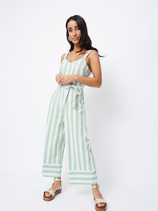 28b5e2f61dca Mint Green Stripe Linen Blend Wide Leg Jumpsuit. Video