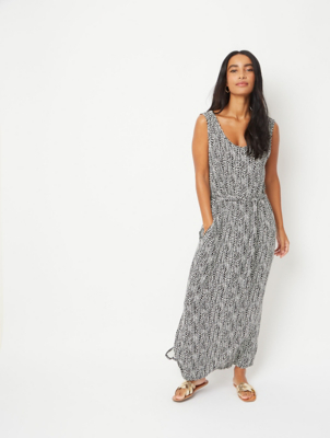 White Zebra Print Sleeveless Jersey Maxi Dress