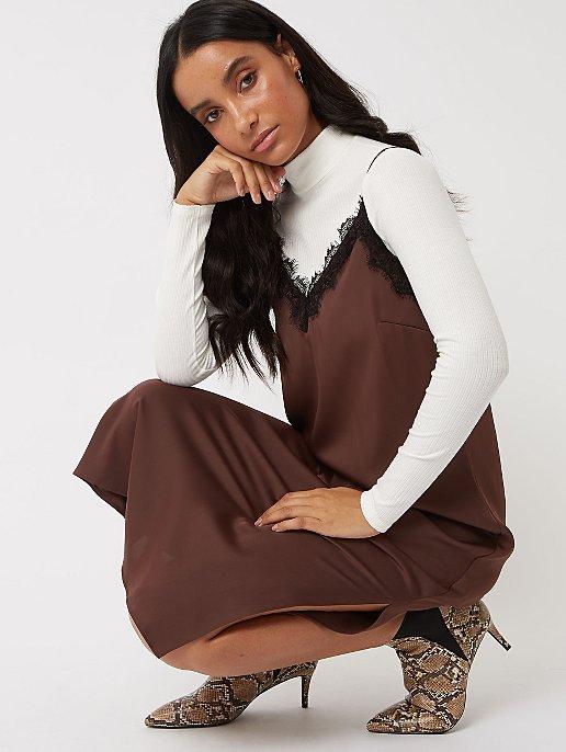 Chocolate Brown Lace Trim Satin Slip Dress