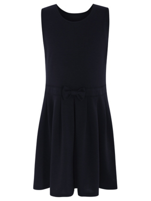 Girls Navy Bow Detail Jersey Pinafore School Dress