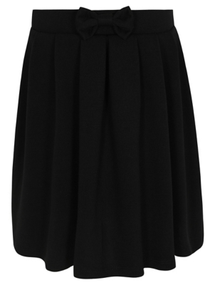 Girls Black Jersey Bow Detail Skater School Skirt