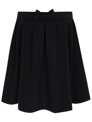Girls Navy Jersey Bow Detail Skater School Skirt